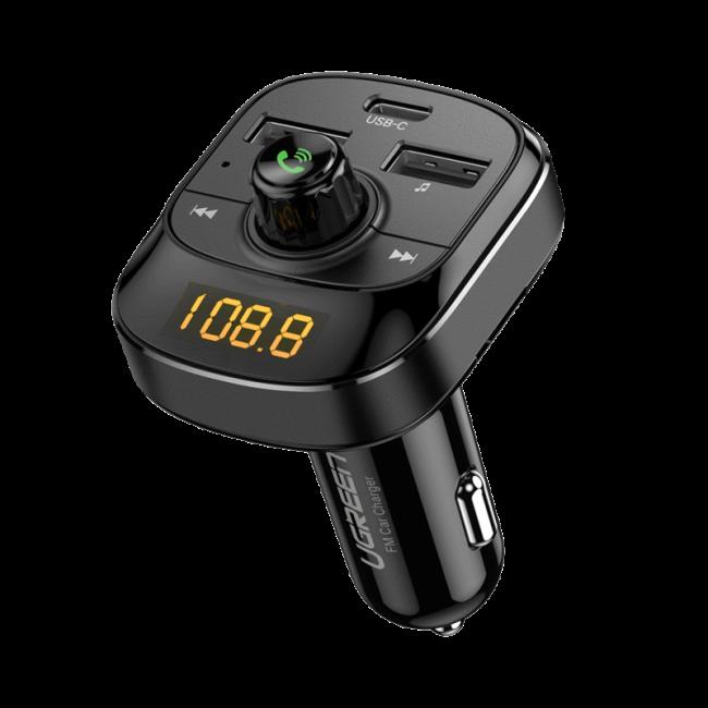 UGREEN Bluetooth 5.0 FM Transmitter Car Charger- Black